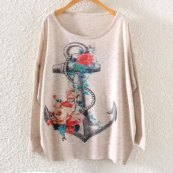 Cute Women's Anchor Printed Knit Pullover Sweater