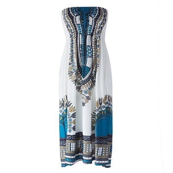 Ethnic Women's Strapless Printed Dress