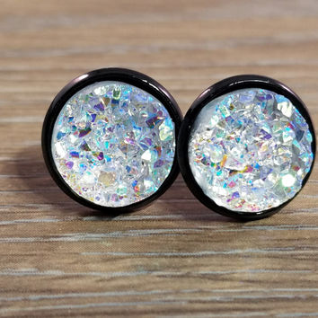 Druzy earrings- Rainbow Clear drusy Black stud druzy earrings