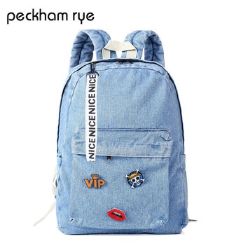 PECKHAMRYE backpack schoolbag women school backpack bags denim jeans backpack teenage backpacks for girls feminine bagpack