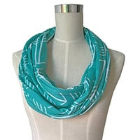 Pop Fashion Women's Teal Arrow Patterned Infinity Scarf with Zipper Pocket