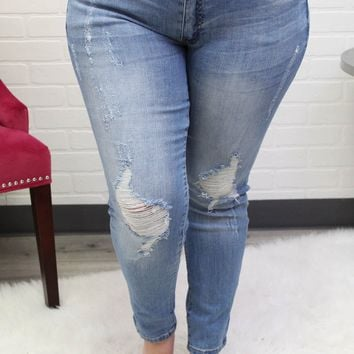 Natalie KanCan Mid Rise Relaxed Plus Light Distressed Jeans