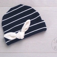 Dark BLUE Newborn outfit baby hat with WHITE Tied KNOT baby boy hat Kid's hat newborn baby girl hospital hat baby girl hat