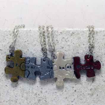 Friendship Puzzle Necklace Polymer Clay  4 piece set Gold silver pearl and bronze