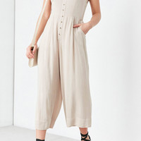 Silence + Noise Button-Front Gauzy Halter Jumpsuit | Urban Outfitters