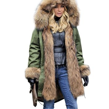 Women's Luxury fur Collar Cuff Hooded Coat Detachable Rabbit Liner Parkas Outwear Long Winter Jacket
