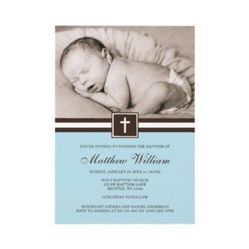 Blue and Brown Cross Boy Photo Baptism Personalized Announcement from Zazzle.com
