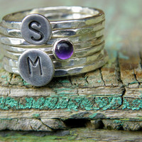 Fine and Sterling Silver Initial and Gemstone by WireReform
