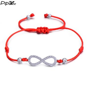 PiPitree Love Infinity Charm Bracelet for Women Men Children Lovers Lucky Red String Bracelets Couple Jewelry Rope Braided Gift