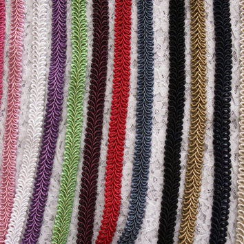 "2 YARDS, Woven Braided Gimp Trim,1/2"" Wide,Home Decor, Embellishments, Upholstery, Pillows, Lamp Shade,Craft Trim"