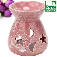 Pink Ceramic Candle Holder and Oil Diffuser