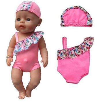 """Swimming Pool beach Summer set For 18"""" American Girl Doll Bikini + Cap summer Swimming Suit With Hat also fit for 43cm Baby born zapf doll ClothesSwimming Pool beach KO_14_1"""