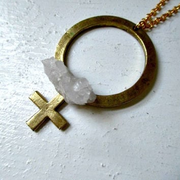 Ladies First. Quartz Crystal Cluster Stone & Vintage Brass Venus Necklace
