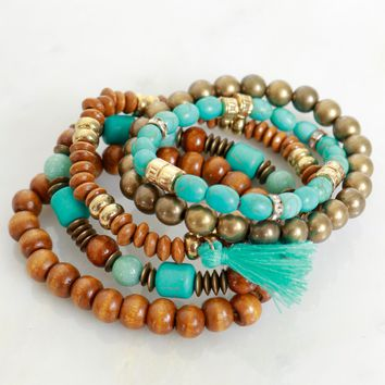 Desert Treasures Beaded Bracelet Brown/ Turquoise