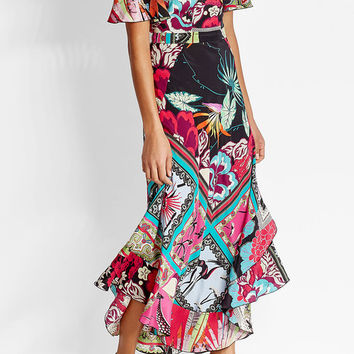 Printed Silk Dress with Cut-Out Shoulders - Etro | WOMEN | US STYLEBOP.COM