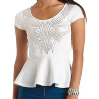 Beaded Art Deco Cap Sleeve Peplum Top by Charlotte Russe - Ivory