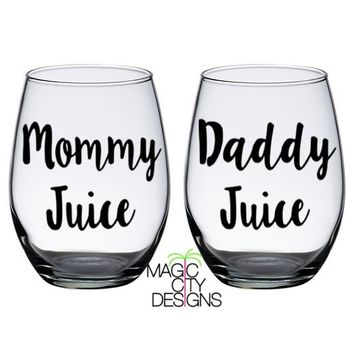 Mommy Juice and Daddy Juice BLACK Stemless Wine Glasses (SET OF 2)- BLACK 21 OZ STEMLESS WINE GLASS set of 2
