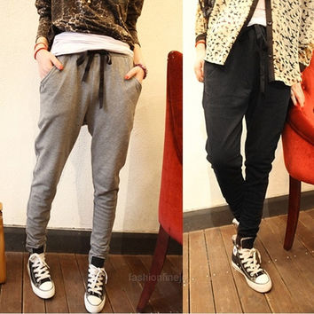 Pants Harem Women Trousers Baggy Joggers Basic Stylish Hippie Pant 3 colors  F_F SV014231 (Size: XXL, Color: Gray) = 1904486340