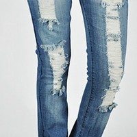 Destructed Bootcut Jeans