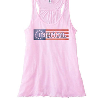 Merican Flag Women's Flowy Tank | Fourth of July Top 4th of July Tees Tanks Hoodies and more | Marijuana Weed Party Beer