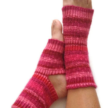 Yoga Socks Hand Knit in Raspberry Pedicure Pilates Dance