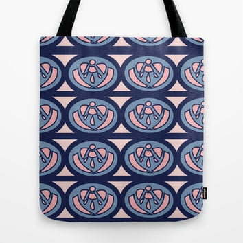 Pink and Navy Tote Bag by Ashley Hillman