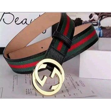 179ac199479 Gucci Men S White Black Red Green Leather Strip Belt Inter. Best Mens Belts  S On Wanelo