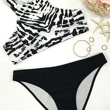 Cupshe Salty Seabreeze Cow Stripe Bikini Set