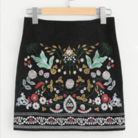 Floral Embroidered Skirt