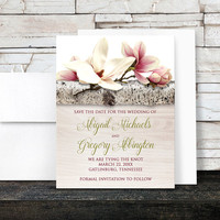 Magnolia Save the Date Cards - Floral Birch Light Wood - Pink White Flowers Green - Printed Flat Cards