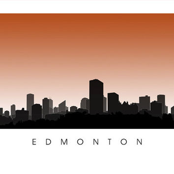 Edmonton Skyline Art - Alberta City Poster Print - cityscape, city illustration, skyscrapers, outline silhouette, University of Alberta