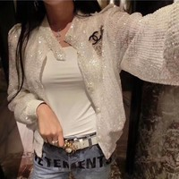 """Chanel"" Women Casual Fashion Sequin Long Sleeve Cardigan Coat"
