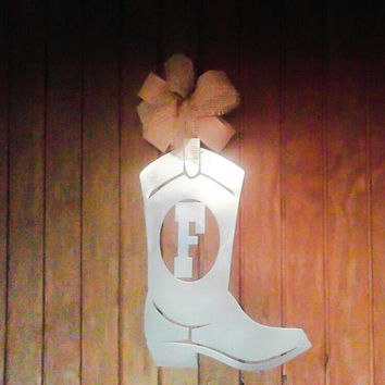 Western door hanger,  Western decor, Home decor, monogram wreath, , monogram door hanger, Cowgirl Decor, Western wreath, Boot, gift ideas