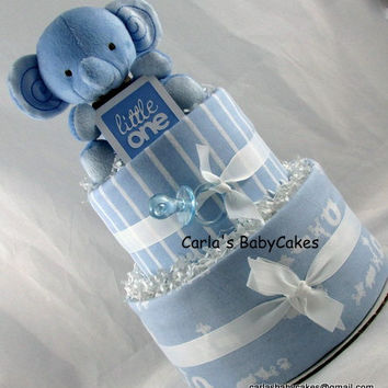 Blue Diaper Cake, Boy Diaper Cake,Elephant Diaper Cake, New Mom Gift, Baby Shower Decoration, Baby Boy Gift, Baby Diaper Cake, Diaper Cake