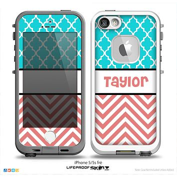 The Coral & White Chevron with Teal Morocan Name Script Skin for the iPhone 5-5s Fre LifeProof Case