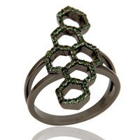 Oxidized Sterling Silver and Tsavourite Statement Ring Designer Jewelry