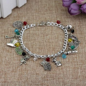 RJ Fashion Film Series Alice In Wonderland Charm Bracelets Hobbit Drink Me Alice Hat Women Girl Crystal Bangles