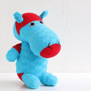 Handmade  stuffed   hippo  for baby  Stuffed Animal baby  Plush Toy sock doll  Ready to Ship