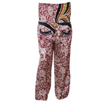 Mogul Womens Harem Pant Two Pockets Smocked Waist Red Floral Print Hip Hop Trouser Yoga Pants - Walmart.com