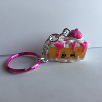 Shopkins Foodie Keychain - Pecanna Pie (pink) - repurposed toys