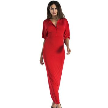 plus size sexy v neck long maxi tunic party dresses 2017 fashion green yellow red black blue elegant club wear Women's Clothing