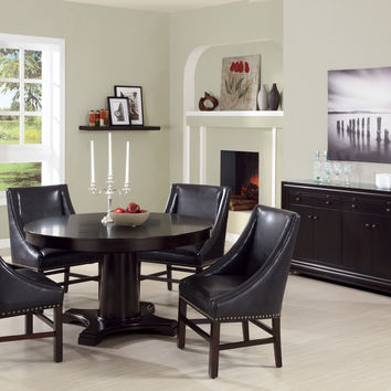 "Dining Chair - 2Pcs / 38""H / Dark Brown Bonded Leather"