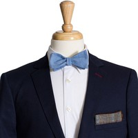 Blue Cotton Bow Tie and Pocket Square Pak #2