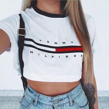 One-nice™ Tommy Women's Fashion Hot Sale Alphabet Print Crop Top T-shirts