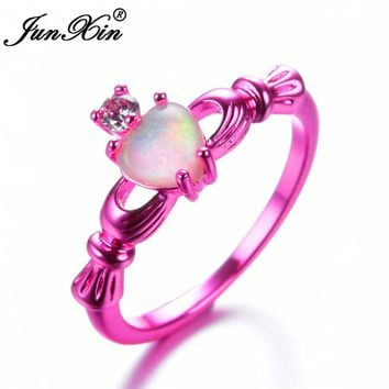 JUNXIN Female White Fire Opal Ring Fashion Pink Gold Filled Jewelry Promise Engagement Rings For Women Claddagh Heart Ring
