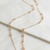 Crystal Chain Link Long Necklace Gold