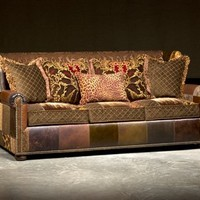 Leather Sofa in Patches, High End Furnishings