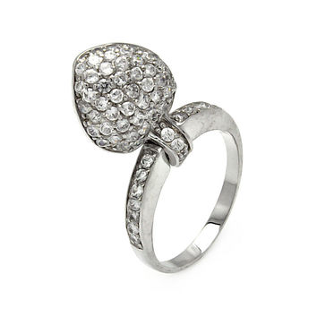 .925 Sterling Silver Rhodium Plated Movable Cubic Zirconia Heart Ring: Size:5