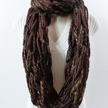 INFINITY SCARF Loop Cowl. Sequoia Infinity Scarf, Snood, Cowls, Women's Winter Accessories, Circle Scarf. Handmade.