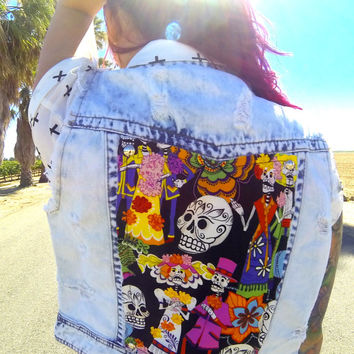 Upcycled-Skull-vest-dayofthedead-studded-badass